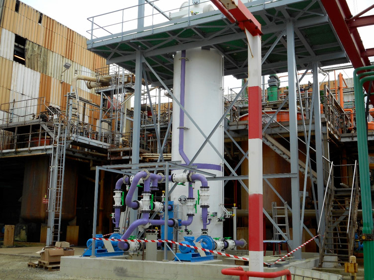 Complex air treatment unit after a refining line of nickel